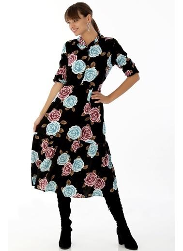 Emjey Gömlek Yaka Salaş Elbise Pembe
